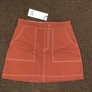 Burnt Orange stitch detail denim mini skirt